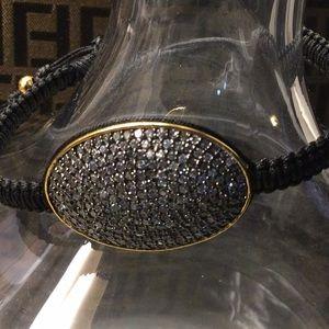 Tai braided bracelet w/ black Swarovski jewels